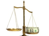 money and justice scales
