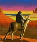 Chimp Riding Goat