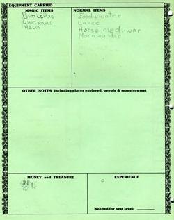 D&D Character Sheet 1980